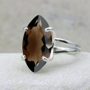 Shop Smoky Quartz Jewelry! Smoky Quartz Ring, long Prong Ring, gemstone Ring, silver Ring, brown Ring, cocktail Ring, statement Ring | Natural genuine Smoky Quartz jewelry. Buy crystal jewelry, handmade handcrafted artisan jewelry for women.  Unique handmade gift ideas. #jewelry #beadedjewelry #beadedjewelry #gift #shopping #handmadejewelry #fashion #style #product #jewelry #affiliate #ad