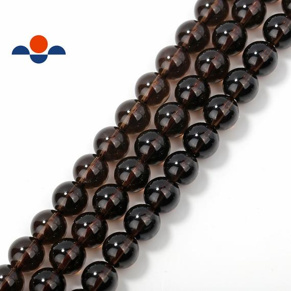 "Smoky Quartz Smooth Round Beads 4mm 6mm 8mm 10mm 12mm 15.5"" Strand"