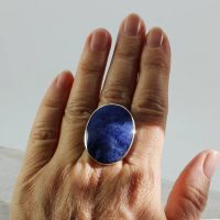 Big Blue Sodalite Ring Natural Stone Set On 925e Silver, Well Made Great Quality Sodalite Stone Amazing Color With A Great Solid Light Bezel | Natural genuine Gemstone jewelry. Buy crystal jewelry, handmade handcrafted artisan jewelry for women.  Unique handmade gift ideas. #jewelry #beadedjewelry #beadedjewelry #gift #shopping #handmadejewelry #fashion #style #product #jewelry #affiliate #ad