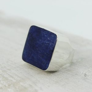 Shop Men's Gemstone Rings! Blue Sodalite unisex ring made of natural Sodalite stone and 925 sterling silver men ring simple square stone ring blue sodalite stone ring | Natural genuine Agate rings, simple unique handcrafted gemstone rings. #rings #jewelry #shopping #gift #handmade #fashion #style #affiliate #ad