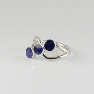 Shop Sodalite Rings! Small Natural Sodalite Stone Ring, Three Cabochons Sodalite Stones Set On 925 Sterling Silver | Natural genuine Sodalite rings, simple unique handcrafted gemstone rings. #rings #jewelry #shopping #gift #handmade #fashion #style #affiliate #ad