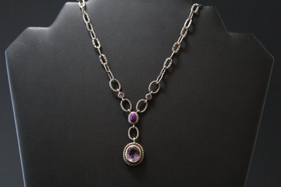 Sterling Silver Amethyst Statement Necklace With Sugilite