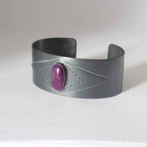 Shop Sugilite Bracelets! Sterling Silver Sugilite Cuff Bracelet, Geometric Cuff With Oxidized Sterling Silver, Sugilite Cabochon, Mens Cuff, Women's Cuff Bracelet | Natural genuine Sugilite bracelets. Buy handcrafted artisan men's jewelry, gifts for men.  Unique handmade mens fashion accessories. #jewelry #beadedbracelets #beadedjewelry #shopping #gift #handmadejewelry #bracelets #affiliate #ad