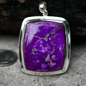 Sugilite pendant – Stunning Sugilite and Sterling Silver – Gorgeous Tone – Sugilite Jewelry – Sugilite Silver Pendant – Sugilite necklace | Natural genuine Sugilite pendants. Buy crystal jewelry, handmade handcrafted artisan jewelry for women.  Unique handmade gift ideas. #jewelry #beadedpendants #beadedjewelry #gift #shopping #handmadejewelry #fashion #style #product #pendants #affiliate #ad