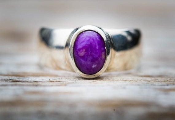 Sugilite Ring 7 - Sugilite And Sterling Silver Ring - Suglite Jewelry - Sugilite Ring - Ring Size 7 - Sterling Silver Sugilite Ring Suglite