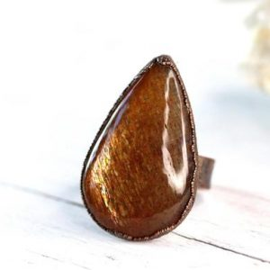 Shop Sunstone Rings! Sunstone Ring – Size 7 1/2 – Polished Sunstone Ring – Large Copper Ring | Natural genuine Sunstone rings, simple unique handcrafted gemstone rings. #rings #jewelry #shopping #gift #handmade #fashion #style #affiliate #ad