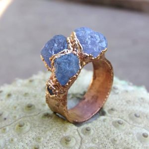 Shop Tanzanite Rings! Raw tanzanite copper electroformed wide ring | Natural genuine Tanzanite rings, simple unique handcrafted gemstone rings. #rings #jewelry #shopping #gift #handmade #fashion #style #affiliate #ad