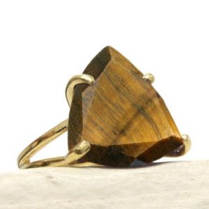 Shop Tiger Eye Jewelry! Tiger Eye Ring, statement Ring, gold Ring, gemstone Ring, triangle Ring, trillion Stone Ring, prong Ring, cocktail Ring | Natural genuine Tiger Eye jewelry. Buy crystal jewelry, handmade handcrafted artisan jewelry for women.  Unique handmade gift ideas. #jewelry #beadedjewelry #beadedjewelry #gift #shopping #handmadejewelry #fashion #style #product #jewelry #affiliate #ad