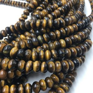 Shop Tiger Eye Rondelle Beads! Genuine Yellow Tiger Eye Smooth Gemstone Rondelle Loose Beads 4x6mm / 5x8mm Approximately 15.5 Inches Per Strand | Natural genuine rondelle Tiger Eye beads for beading and jewelry making.  #jewelry #beads #beadedjewelry #diyjewelry #jewelrymaking #beadstore #beading #affiliate #ad