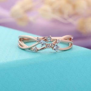 Shop Topaz Rings! Blue Topaz Cluster Ring Rose Gold, dainty Promise Wedding Ring, unique March Birthstone Ring, delicate Anniversary Gifts For Her, bridal Jewelry | Natural genuine Topaz rings, simple unique alternative gemstone engagement rings. #rings #jewelry #bridal #wedding #jewelryaccessories #engagementrings #weddingideas #affiliate #ad