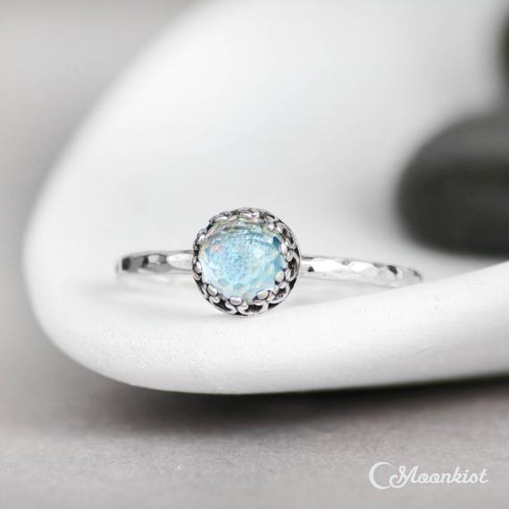 Sterling Silver Blue Topaz Ring, Dainty Promise Ring, December Birthstone, Silver Blue Topaz Stacking Ring | Moonkist Designs