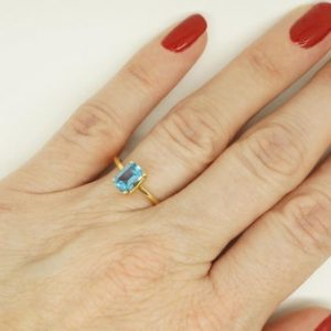 Unique Blue Topaz Ring-gold Ring-minimalist Engagement Ring-natural Blue Topaz Ring-sky Blue Topaz Ring-birthstone Ring-minimalist Ring | Natural genuine Gemstone rings, simple unique alternative gemstone engagement rings. #rings #jewelry #bridal #wedding #jewelryaccessories #engagementrings #weddingideas #affiliate #ad
