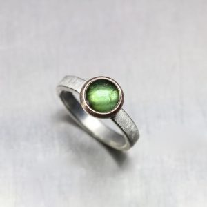 Shop Tourmaline Rings! Grass Green Tourmaline Ring 14K Rose Gold Silver Brushed Band Vibrant Summer Meadow Round Cabochon Brazil Gemstone Gift Her – Wiesenkugel | Natural genuine Tourmaline rings, simple unique handcrafted gemstone rings. #rings #jewelry #shopping #gift #handmade #fashion #style #affiliate #ad