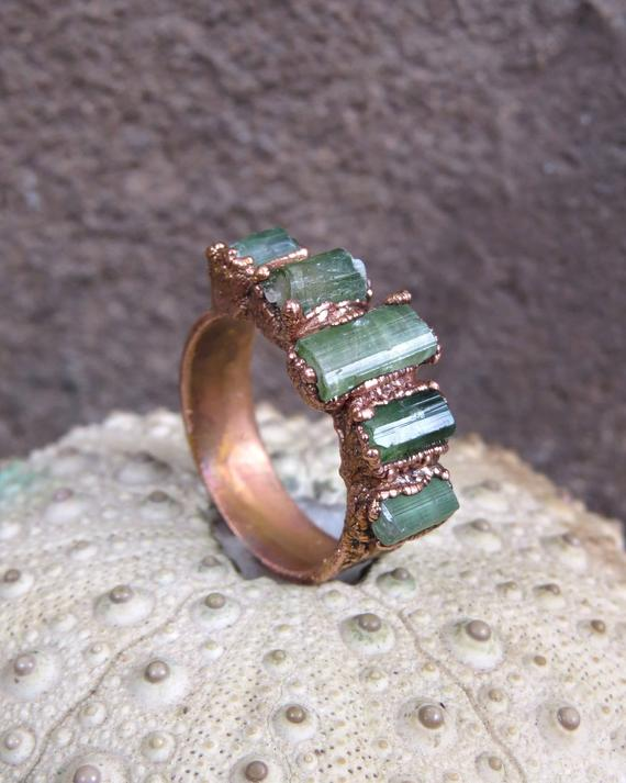 Raw Green Tourmaline Copper Electroformed Ring, October Birthstone Ring