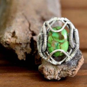 Silver Wire Wrapped Green Copper Turquoise Ring – Size: 8 | Natural genuine Gemstone rings, simple unique handcrafted gemstone rings. #rings #jewelry #shopping #gift #handmade #fashion #style #affiliate #ad