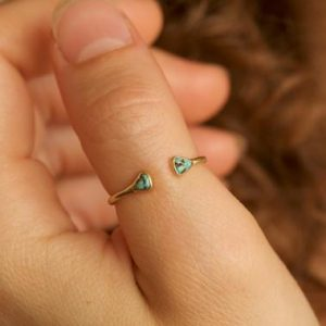 Shop Turquoise Rings! Tiny Minimalist Adjustable Blue And Brown Genuine Natural Arizona Turquoise Ring. Genuine Turquoise Ring. Raw Adjustable Turquoise Ring | Natural genuine Turquoise rings, simple unique handcrafted gemstone rings. #rings #jewelry #shopping #gift #handmade #fashion #style #affiliate #ad