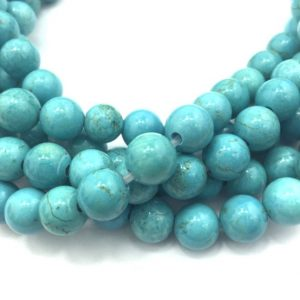 "Shop Turquoise Beads! 2.0mm Hole Blue Turquoise Smooth Round Size 8mm 10mm 6mm 15.5"" Strand 