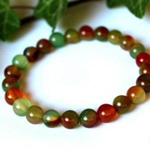 Shop Agate Bracelets! 8mm Peacock Agate Bracelet, Peacock Bracelet, Orange Green Agate Bracelet, 8mm Agate Bracelet, Agate Wrist Mala, Chakra Bracelet, Agate | Natural genuine Agate bracelets. Buy crystal jewelry, handmade handcrafted artisan jewelry for women.  Unique handmade gift ideas. #jewelry #beadedbracelets #beadedjewelry #gift #shopping #handmadejewelry #fashion #style #product #bracelets #affiliate #ad
