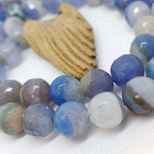 Shop Agate Faceted Beads! Blue Polished Faceted Druzy Agate Beads / 12 mm Blue Geode Drusy Beads / Druzy Agate Striped Sparkly Crystal Gemstone Beads / 2 beads | Natural genuine faceted Agate beads for beading and jewelry making.  #jewelry #beads #beadedjewelry #diyjewelry #jewelrymaking #beadstore #beading #affiliate #ad