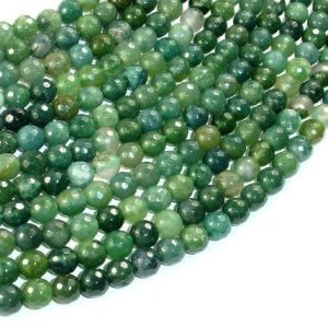 Shop Agate Faceted Beads! Moss Agate Beads, 6mm Faceted Round Beads, 15 Inch, Full strand, Approx 63 beads, Hole 1 mm, A quality (323025004) | Natural genuine faceted Agate beads for beading and jewelry making.  #jewelry #beads #beadedjewelry #diyjewelry #jewelrymaking #beadstore #beading #affiliate #ad
