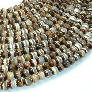 Shop Agate Faceted Beads! Tibetan Agate Beads, Brown, 6 mm Faceted Round Beads, 13 Inch, Full strand, Approx 61 brads, Hole 1mm (122025048) | Natural genuine faceted Agate beads for beading and jewelry making.  #jewelry #beads #beadedjewelry #diyjewelry #jewelrymaking #beadstore #beading #affiliate #ad