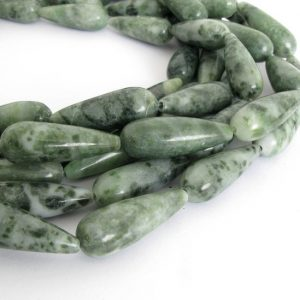 28mm Tree Agate Beads, 28mm Green Teardrop Beads, Green and White  Gemstone Beads, 28mm Teardrop Beads, Aga233   Natural genuine other-shape Gemstone beads for beading and jewelry making.  #jewelry #beads #beadedjewelry #diyjewelry #jewelrymaking #beadstore #beading #affiliate #ad