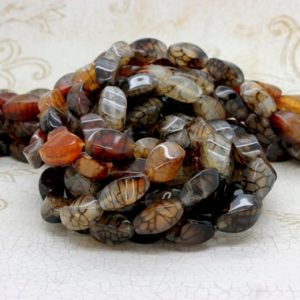 """Shop Agate Bead Shapes! Spider Web Agate Twisted Puffed Oval Gemstone Loose Beads Bead – Full 15.5"""" Strand 