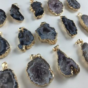 Wholesale Agate Druzy Pendant Agate Slice druzy Geode Pendant agate drusy pendant 24K gold agate pendant 1piece | Natural genuine beads Gemstone beads for beading and jewelry making.  #jewelry #beads #beadedjewelry #diyjewelry #jewelrymaking #beadstore #beading #affiliate #ad