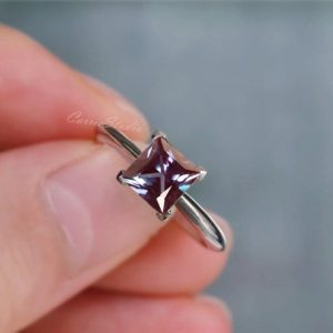 Shop Alexandrite Rings! Classic Princess Cut Alexandrite Ring Alexandrite Engagement Ring Wedding Ring Anniversary Ring Promise Ring | Natural genuine Alexandrite rings, simple unique alternative gemstone engagement rings. #rings #jewelry #bridal #wedding #jewelryaccessories #engagementrings #weddingideas #affiliate #ad