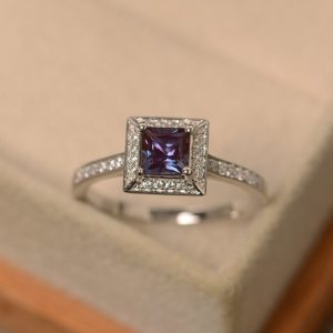 Shop Alexandrite Rings! Lab alexandrite ring, engagement ring,princess cut gemstone, sterling silver ring | Natural genuine Alexandrite rings, simple unique alternative gemstone engagement rings. #rings #jewelry #bridal #wedding #jewelryaccessories #engagementrings #weddingideas #affiliate #ad