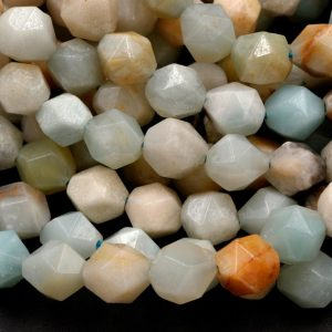 "Shop Amazonite Chip & Nugget Beads! Star Cut Natural Multicolor Amazonite Beads Faceted 8mm 10mm Rounded Nugget Sharp Facets 15"" Strand 