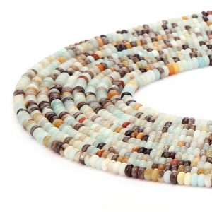 Shop Amazonite Faceted Beads! Multi-color Amazonite Faceted Rondelle 4x6mm 5x8mm 6x10mm 8x12mm 15.5'' Strand | Natural genuine faceted Amazonite beads for beading and jewelry making.  #jewelry #beads #beadedjewelry #diyjewelry #jewelrymaking #beadstore #beading #affiliate #ad