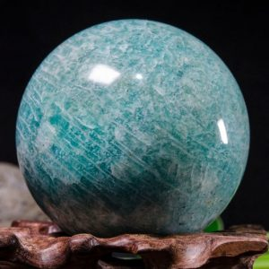"Shop Tumbled Amazonite Crystals & Pocket Stones! 2.2""Natural Amazonite Sphere/Tumbled Amazonite Ball/Green Rock Sphere/Hand Carved Gemstone Sphere/Crystal Healing/Special Gift-57mm264g#8773 