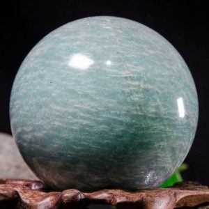 "Shop Tumbled Amazonite Crystals & Pocket Stones! 2""Large Natural Amazonite Sphere/Tumbled Amazonite Ball/Green rock Sphere/Hand Carved Gemstone Sphere/Crystal Healing/Gift-51mm 266g #8777 