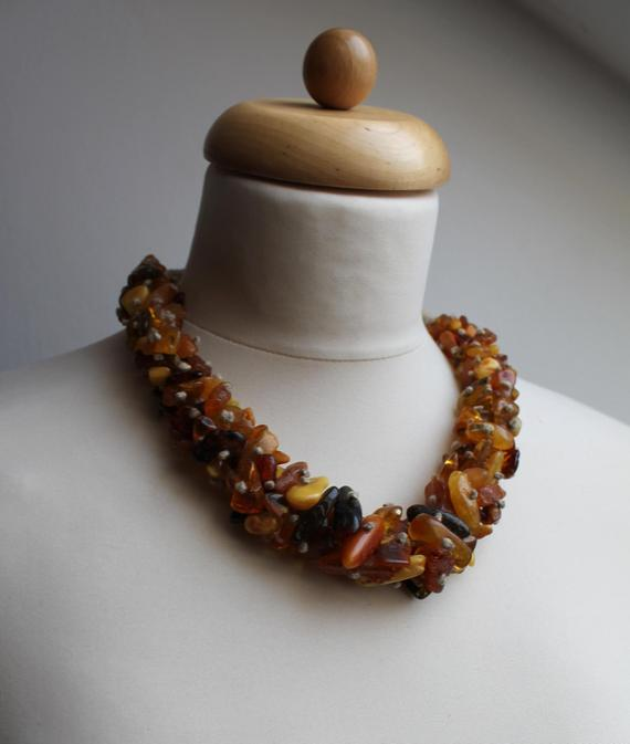 Raw Baltic Amber Necklace Statement Multicolored Earthy Colors Yellow Orange Honey Brown Sunny Milky Summer Fashion Jewelry Rough Gemstone