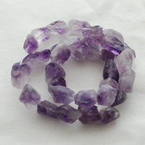 "Shop Amethyst Chip & Nugget Beads! Raw Natural Amethyst Semi-precious Gemstone Chunky Nugget Beads – approx 9mm – 11mm x 13mm – 15mm – approx 15"" strand 