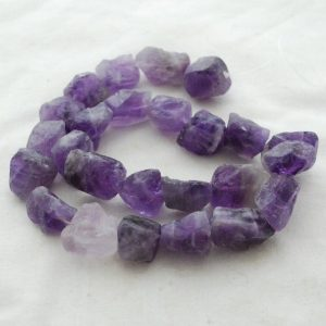 "Shop Amethyst Chip & Nugget Beads! Raw Natural Amethyst Semi-precious Gemstone Chunky Nugget Beads – approx 11mm – 13mm x 15mm – 18mm – approx 15"" strand 