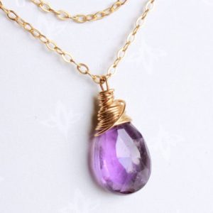 Shop Amethyst Pendants! Amethyst Pendant Necklace Gold Filled wire wrapped boho luxe minimalist artisan solitaire choker February birthstone gift for her mom 4070 | Natural genuine Amethyst pendants. Buy crystal jewelry, handmade handcrafted artisan jewelry for women.  Unique handmade gift ideas. #jewelry #beadedpendants #beadedjewelry #gift #shopping #handmadejewelry #fashion #style #product #pendants #affiliate #ad