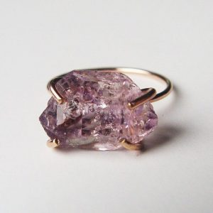 Amethyst Herkimer Gold Ring, Raw Amethyst Ring | Natural genuine Amethyst rings, simple unique handcrafted gemstone rings. #rings #jewelry #shopping #gift #handmade #fashion #style #affiliate #ad