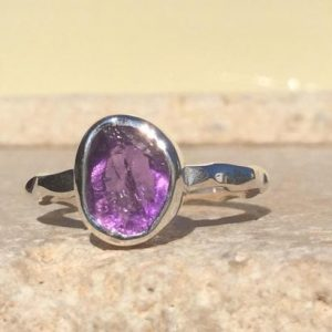 Shop Amethyst Rings! Raw Amethyst Silver Gemstone Ring, February Birthstone Ring, Healing Crystal Jewellery | Natural genuine Amethyst rings, simple unique handcrafted gemstone rings. #rings #jewelry #shopping #gift #handmade #fashion #style #affiliate #ad