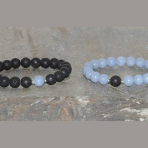 Shop Angelite Jewelry! Aaa Grade 8mm Angelite & Volcanic Lava Bracelet, Throat Chakra, Couples Bracelets, His And Hers Bracelet Set, 2 Matching Bracelets Yoga Gift | Natural genuine Angelite jewelry. Buy crystal jewelry, handmade handcrafted artisan jewelry for women.  Unique handmade gift ideas. #jewelry #beadedjewelry #beadedjewelry #gift #shopping #handmadejewelry #fashion #style #product #jewelry #affiliate #ad
