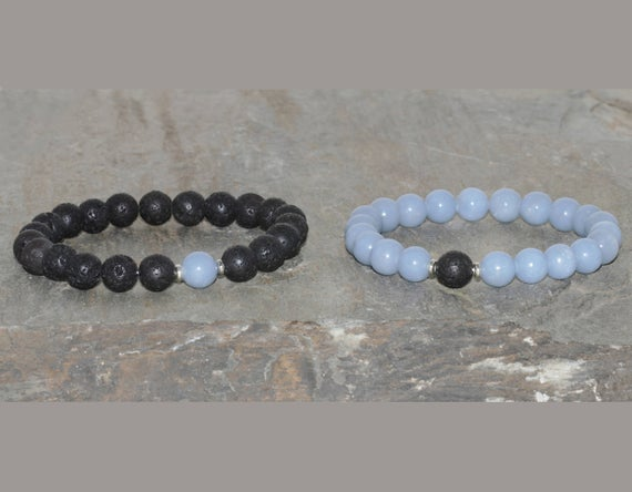 Aaa Grade 8mm Angelite & Volcanic Lava Bracelet, Throat Chakra, Couples Bracelets, His And Hers Bracelet Set, 2 Matching Bracelets Yoga Gift