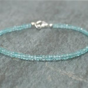 Apatite Bracelet, Sterling Silver, Apatite Jewelry, Minimalist, Layering Bracelet, Blue Gemstone Jewelry | Natural genuine Apatite bracelets. Buy crystal jewelry, handmade handcrafted artisan jewelry for women.  Unique handmade gift ideas. #jewelry #beadedbracelets #beadedjewelry #gift #shopping #handmadejewelry #fashion #style #product #bracelets #affiliate #ad