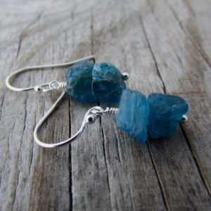 Shop Apatite Earrings! Apatite Earrings. Raw, Rough Gemstone Nuggets, Dangle Earrings | Natural genuine Apatite earrings. Buy crystal jewelry, handmade handcrafted artisan jewelry for women.  Unique handmade gift ideas. #jewelry #beadedearrings #beadedjewelry #gift #shopping #handmadejewelry #fashion #style #product #earrings #affiliate #ad