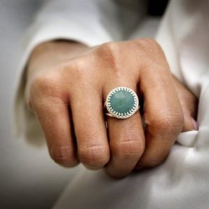 March Birthstone Ring · Silver Ring · Aquamarine Ring · Gemstone Ring · Semiprecious Ring · Large Ring · Round Cocktail Ring | Natural genuine Aquamarine rings, simple unique handcrafted gemstone rings. #rings #jewelry #shopping #gift #handmade #fashion #style #affiliate #ad