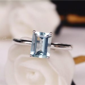 Shop Aquamarine Rings! Natural Aquamarine Ring 14k Gold Aquamarine Engagement Ring Wedding Ring Anniversary Ring Promise Ring | Natural genuine Aquamarine rings, simple unique alternative gemstone engagement rings. #rings #jewelry #bridal #wedding #jewelryaccessories #engagementrings #weddingideas #affiliate #ad