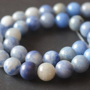 Blue Aventurine Gemstone Beads, 6mm / 8mm / 10mm / 12mm Smooth And Round Stone Beads, 15 Inches One Starand | Natural genuine round Aventurine beads for beading and jewelry making.  #jewelry #beads #beadedjewelry #diyjewelry #jewelrymaking #beadstore #beading #affiliate #ad