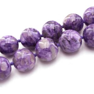 Shop Charoite Beads! Charoite 15-18.5mm Graduate Round Beads (etb01161) | Natural genuine beads Charoite beads for beading and jewelry making.  #jewelry #beads #beadedjewelry #diyjewelry #jewelrymaking #beadstore #beading #affiliate #ad