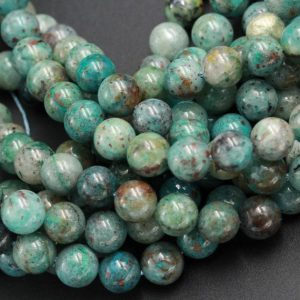 "Shop Chrysocolla Round Beads! Natural Chrysocolla Beads 6mm 8mm 10mm 12mm Round Real Natural Blue Green Chrysocolla Red Iron Matrix Gemstone Arizona 15.5"" Strand 