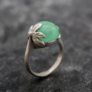 Shop Chrysoprase Jewelry! Chrysoprase Ring, Real Chrysoprase Ring, Leaf Ring, Grass Ring, Green Flower Ring, Natural Chrysoprase, May Birthstone, Sterling Silver Ring | Natural genuine Chrysoprase jewelry. Buy crystal jewelry, handmade handcrafted artisan jewelry for women.  Unique handmade gift ideas. #jewelry #beadedjewelry #beadedjewelry #gift #shopping #handmadejewelry #fashion #style #product #jewelry #affiliate #ad